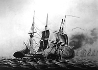 The Capture of H.B.M. Sloop of War Frolic, Capn. Whinyates, by the U.S. Sloop of War Wasp, Capn. Jab. Jones, on the 18th of Octr. 1812.  Copy of print by F. Kearny from sketch by Lt. Claxton. (George Washington Bicentennial Commission)<br /> NARA FILE #:  148-GW-488<br /> WAR & CONFLICT BOOK #:  79