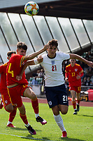 3rd September 2021; Newport, Wales:  Zak Emmerson 21 England and Ben Hammond 14 Wales battle for the ball during the U18 International Friendly,  match between Wales and England at Newport Stadium in Newport, Wales.