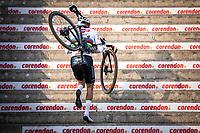 eventual winner Mathieu Van der Poel (NED/Alpecin Fenix) up the stairs<br /> <br /> Men Elite Race<br /> UCI Cyclocross Worldcup – Hoogerheide (Netherlands)<br /> <br /> ©kramon