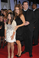 """12 July 2020 - Actress and wife of John Travolta Kelly Preston dead at age 57 from breast cancer. John Travolta & wife Kelly Preston & daughter Ella Beu Travolta at the world premiere of their new movie Walt Disney's """"Old Dogs"""" at the El Capitan Theatre, Hollywood.November 9, 2009  Los Angeles, CA. Photo Credit: Jaguar/AdMedia"""