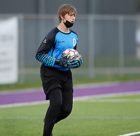 Waunakee goaltender, Lawson Kuhn, looks to throw the ball back into play, as Oregon takes on Waunakee in Wisconsin WIAA Badger Conference boys high school soccer on Tuesday, Apr. 27, 2021 at Waunakee High School
