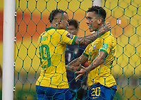 9th October 2020; Arena Corinthians, Sao Paulo, Sao Paulo, Brazil; FIFA World Cup Football Qatar 2022 qualifiers; Brazil versus Bolivia; Roberto Firmino of Brazil celebrates his goal with Everton in the 30th minute 2-0