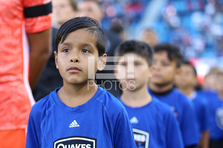 SAN JOSE, CA - AUGUST 03: Escort kid  during a Major League Soccer (MLS) match between the San Jose Earthquakes and the Columbus Crew on August 03, 2019 at Avaya Stadium in San Jose, California.