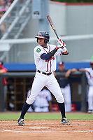 Derian Cruz (7) of the Danville Braves at bat against the Princeton Rays at American Legion Post 325 Field on June 25, 2017 in Danville, Virginia.  The Braves walked-off the Rays 7-6 in 11 innings.  (Brian Westerholt/Four Seam Images)