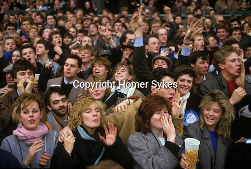Twickenham , London 1985<br /> Cambridge in light blue, lost against all the odds to Oxford  8-6 at the annual Varsity Match.  A game of rugby union played since 1872 between Oxford and Cambridge Universities, with just a break during the years of the two World Wars.