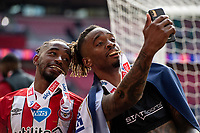 Tariqe Fosu of Brentford and Ivan Toney of Brentford celebrate at full time during the Sky Bet Championship Play Off Final match between Brentford and Swansea City at Wembley Stadium in London, England, UK. Saturday 29 May 2021