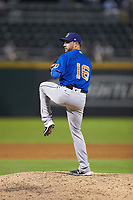 Durham Bulls relief pitcher Cole Sulser (16) in action against the Charlotte Knights at BB&T BallPark on July 31, 2019 in Charlotte, North Carolina. The Knights defeated the Bulls 9-6. (Brian Westerholt/Four Seam Images)