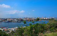 Havana Cuba panoramic from Christ statue across river from above