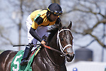 April 03, 2021: Shadow Matter #5 ridden by Luis Saez wins the third race, a starter allowance for three-year-olds on Blue Grass Stakes Day at Keeneland Race Course in Lexington, Kentucky on April 03, 2021. Candice Chavez/Eclipse Sportswire/CSM