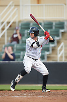 Michael Hickman (18) of the Kannapolis Intimidators at bat against the West Virginia Power at Kannapolis Intimidators Stadium on July 25, 2018 in Kannapolis, North Carolina. The Intimidators defeated the Power 6-2 in 8 innings in game one of a double-header. (Brian Westerholt/Four Seam Images)