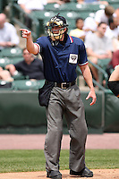 May 29th 2008:  Home plate umpire Andrew Vincent during a game at Frontier Field in Rochester, NY.  Photo by:  Mike Janes/Four Seam Images