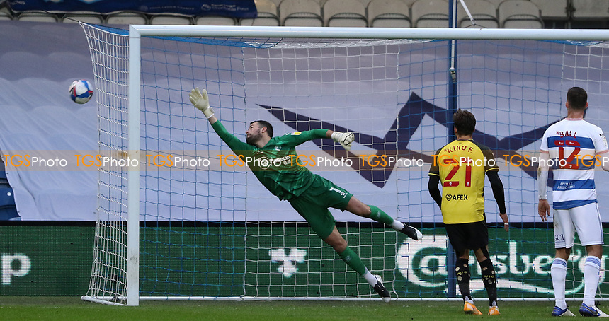 A Queens Park Rangers shot goes wide with Ben Foster of Watford diving during Queens Park Rangers vs Watford, Sky Bet EFL Championship Football at The Kiyan Prince Foundation Stadium on 21st November 2020