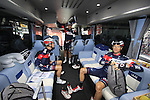 Martin Elmiger (SUI) IAM Cycling and team mates aboard the team bus before the start of the 2015 96th Milan-Turin 186km race starting at San Giuliano Milanese, Italy. 1st October 2015.<br /> Picture: Eoin Clarke | Newsfile