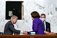 United States Senator Lindsey Graham (Republican of South  Carolina), Chairman, US Senate Judiciary Committee and United States Senator Dianne Feinstein (Democrat of California), Ranking Member, US Senate Judiciary Committee, shake hands at the conclusion of the fourth day of the confirmation hearing for Judge Amy Coney Barrett, President Donald Trump's Nominee for Supreme Court, in Hart Senate Office Building in Washington DC, on October 15th, 2020.<br /> Credit: Anna Moneymaker / Pool via CNP /MediaPunch