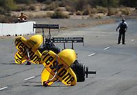 Oct. 15, 2011; Chandler, AZ, USA; NHRA top fuel dragster driver Spencer Massey (right) and Cory McClenathan during qualifying at the Arizona Nationals at Firebird International Raceway. Mandatory Credit: Mark J. Rebilas-