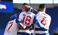 5th April 2021; Madejski Stadium, Reading, Berkshire, England; English Football League Championship Football, Reading versus Derby County;  Lucas Joao of Reading celebrates with his team on scoring in 84th minute 3-1