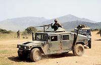 - US Marines Hummer vehicle during NATO exercises at cape Teulada (Sardinia) ....- veicolo Hummer degli US Marines durante esercitazioni NATO a capo Teulada (Sardegna)