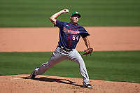Minnesota Twins pitcher Derek Law (54) during a Major League Spring Training game against the Boston Red Sox on March 17, 2021 at JetBlue Park in Fort Myers, Florida.  (Mike Janes/Four Seam Images)