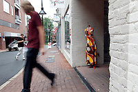 An urban scene of people walking on the Downtown Mall in Charlottesville, VA. Photo/Andrew Shurtleff