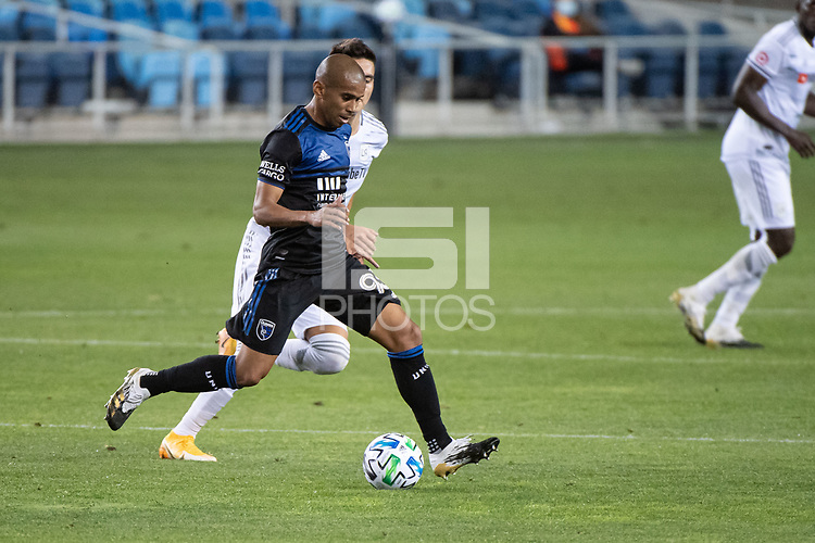 SAN JOSE, CA - NOVEMBER 04: Judson #93 of the San Jose Earthquakes dribbles the ball during a game between Los Angeles FC and San Jose Earthquakes at Earthquakes Stadium on November 04, 2020 in San Jose, California.