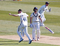 Yorkshire's Jordan Thompson celebrates after taking the wicket of Kent's Ollie Robinson during Kent CCC vs Yorkshire CCC, LV Insurance County Championship Group 3 Cricket at The Spitfire Ground on 16th April 2021
