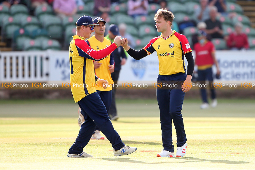 Sam Cook of Essex celebrates with his team mates after taking the wicket of James Hildreth during Somerset vs Essex Eagles, Vitality Blast T20 Cricket at The Cooper Associates County Ground on 9th June 2021