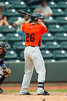 Nicky Delmonico (26) of the Frederick Keys at bat against the Winston-Salem Dash at BB&T Ballpark on July 21, 2013 in Winston-Salem, North Carolina.  The Dash defeated the Keys 3-2.  (Brian Westerholt/Four Seam Images)