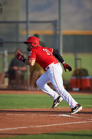 AZL Reds Wendell Marrero (31) runs to first base during an Arizona League game against the AZL Athletics Green on July 21, 2019 at the Cincinnati Reds Spring Training Complex in Goodyear, Arizona. The AZL Reds defeated the AZL Athletics Green 8-6. (Zachary Lucy/Four Seam Images)