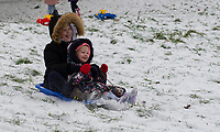 Young children having fun sledging in the park following Heavy Snowfall at Sidcup, Kent, England on the 8 February 2021. Photo by Alan Stanford.