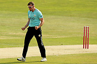 Daniel Moriarty of Surrey celebrates taking the wicket of Cameron Delport during Essex Eagles vs Surrey, Vitality Blast T20 Cricket at The Cloudfm County Ground on 11th September 2020