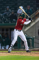 Fort Wayne TinCaps Justin Lopez (14) at bat during a Midwest League game against the Fort Wayne TinCaps at Parkview Field on April 30, 2019 in Fort Wayne, Indiana. Kane County defeated Fort Wayne 7-4. (Zachary Lucy/Four Seam Images)