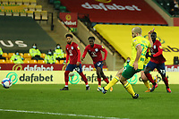 6th April 2021; Carrow Road, Norwich, Norfolk, England, English Football League Championship Football, Norwich versus Huddersfield Town; Teemu Pukki of Norwich City shoots to score his hat-trick from the penalty spot for 6-0 in the 61st minute
