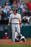 Pawtucket Red Sox outfielder Mike Miller (10) at bat during a game against the Buffalo Bisons on August 28, 2015 at Coca-Cola Field in Buffalo, New York.  Pawtucket defeated Buffalo 7-6.  (Mike Janes/Four Seam Images)