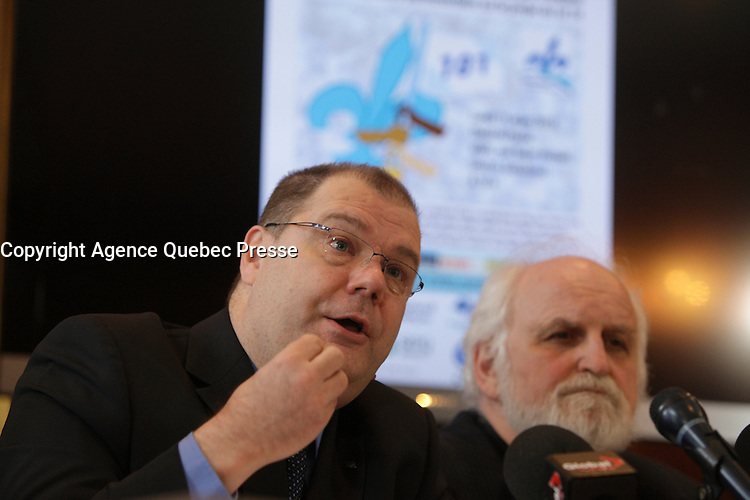 Montreal - CANADA - File Photo - Mario Bealieu, leader Mouvement Quebec Francais adress the medias March 11, 2013 -<br /> <br /> Bealieu is now  leader of the BLOC QUEBECOIS Federal party.<br /> <br /> Photo : Agence Quebec Presse - Pierre Roussel
