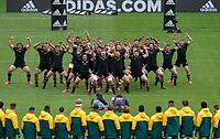 11th October 2020; Sky Stadium, Wellington, New Zealand;  All Black's haka. Bledisloe Cup rugby union test match between the New Zealand All Blacks and Australia Wallabies.