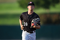 Kannapolis Intimidators center fielder Blake Rutherford (20) jogs off the field between innings of the game against the West Virginia Power at Kannapolis Intimidators Stadium on July 20, 2017 in Kannapolis, North Carolina.  The Power defeated the Intimidators 6-5.  (Brian Westerholt/Four Seam Images)