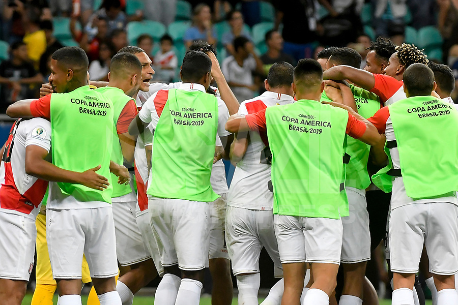 Salvador (Bahia), 29/06/2019 - Copa América - Uruguai-Peru -  Os jogadores da seleção do Peru comemora sua classificação em partida contra o Uruguai em jogo válido pelas quartas de final da Copa América, na Arena Fonte Nova em Salvador, na tarde deste sábado, 29. (Foto: Ricardo Botelho/Brazil Photo Press)