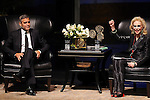 Lynn Wyatt has a little fun while interviewing  George Clooney at the Brilliant Lecture Series at the Wortham Theater Thursday May 3,2012. (Dave Rossman Photo)