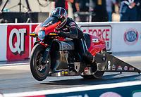 Oct 14, 2019; Concord, NC, USA; NHRA pro stock motorcycle rider Eddie Krawiec during the Carolina Nationals at zMax Dragway. Mandatory Credit: Mark J. Rebilas-USA TODAY Sports