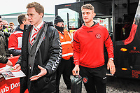 Fleetwood Town's midfielder Harrison Biggins (27) arriving for the Sky Bet League 1 match between Doncaster Rovers and Fleetwood Town at the Keepmoat Stadium, Doncaster, England on 6 October 2018. Photo by Stephen Buckley / PRiME Media Images.