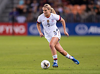 HOUSTON, TX - JANUARY 31: Lindsey Horan #9 of the United States dribbles during a game between Panama and USWNT at BBVA Stadium on January 31, 2020 in Houston, Texas.