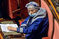 The Senator Emma Bonino during the information at the Senate about the government crisis.<br /> Rome(Italy), January 19th 2021<br /> Photo Pool Stefano Carofei/Insidefoto