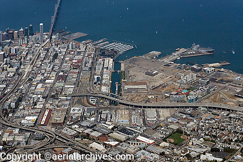 historical aerial photograph of Mission Bay, South Beach, Showplace Square, San Francisco, California, 2008