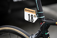 Wout van Aert (BEL/Jumbo - Visma) race number showing 3 medals (= 3 TdF stage wins)<br /> <br /> at the race start in Pau<br /> <br /> Stage 9 from Pau to Laruns (153km)<br /> <br /> 107th Tour de France 2020 (2.UWT)<br /> (the 'postponed edition' held in september)<br /> <br /> ©kramon