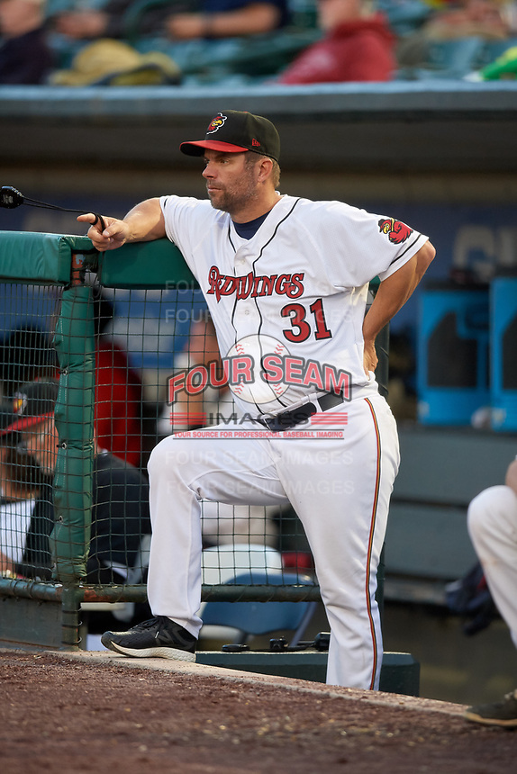 Rochester Red Wings hitting coach Chad Allen (31) in the dugout during a game against the Pawtucket Red Sox on May 19, 2018 at Frontier Field in Rochester, New York.  Rochester defeated Pawtucket 2-1.  (Mike Janes/Four Seam Images)