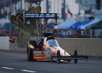 Jul, 9, 2011; Joliet, IL, USA: NHRA top fuel dragster driver Spencer Massey during qualifying for the Route 66 Nationals at Route 66 Raceway. Mandatory Credit: Mark J. Rebilas-