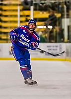 19 January 2018: University of Massachusetts Lowell Riverhawks Defenseman Mattias Göransson, a Sophomore from Slottsbron, Sweden, in first period action against the University of Vermont Catamounts at Gutterson Fieldhouse in Burlington, Vermont. The Riverhawks rallied to defeat the Catamounts 3-2 in overtime of their Hockey East matchup. Mandatory Credit: Ed Wolfstein Photo *** RAW (NEF) Image File Available ***