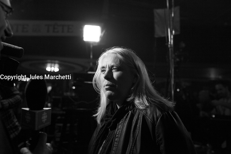 Manon Masse  at Quebec Solidaire gathering at Olympia theatre on election night, April 7, 2014 <br /> <br /> Photo : Agence Quebec Presse -  Jules Marchetti