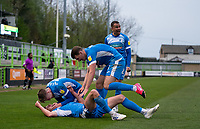 Celebrations after Bobby Thomas (on loan from Burnley) of Barrow goal during the Sky Bet League 2 match between Forest Green Rovers and Barrow at The New Lawn, Nailsworth on Tuesday 27th April 2021. (Credit: Prime Media Images I MI News)