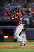 Erie SeaWolves Derek Hill (11) at bat during an Eastern League game against the Akron RubberDucks on August 30, 2019 at Canal Park in Akron, Ohio.  Erie defeated Akron 3-2.  (Mike Janes/Four Seam Images)